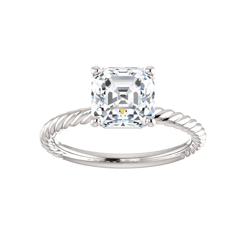 The Lacey Asscher Moissanite Engagement Ring Rope Solitaire Setting White Gold