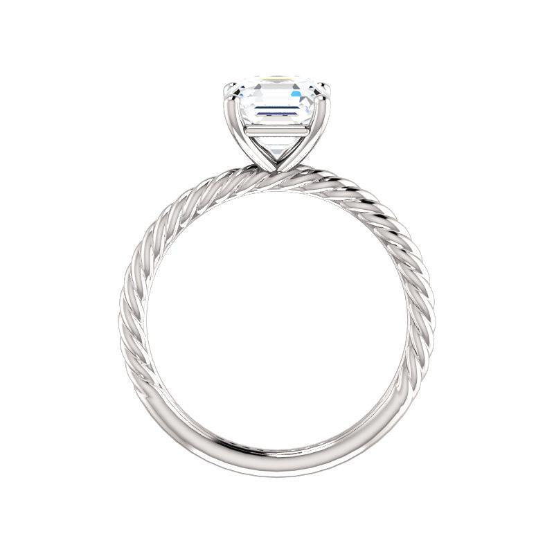 The Lacey Asscher Moissanite Engagement Ring Rope Solitaire Setting White Gold Side Profile
