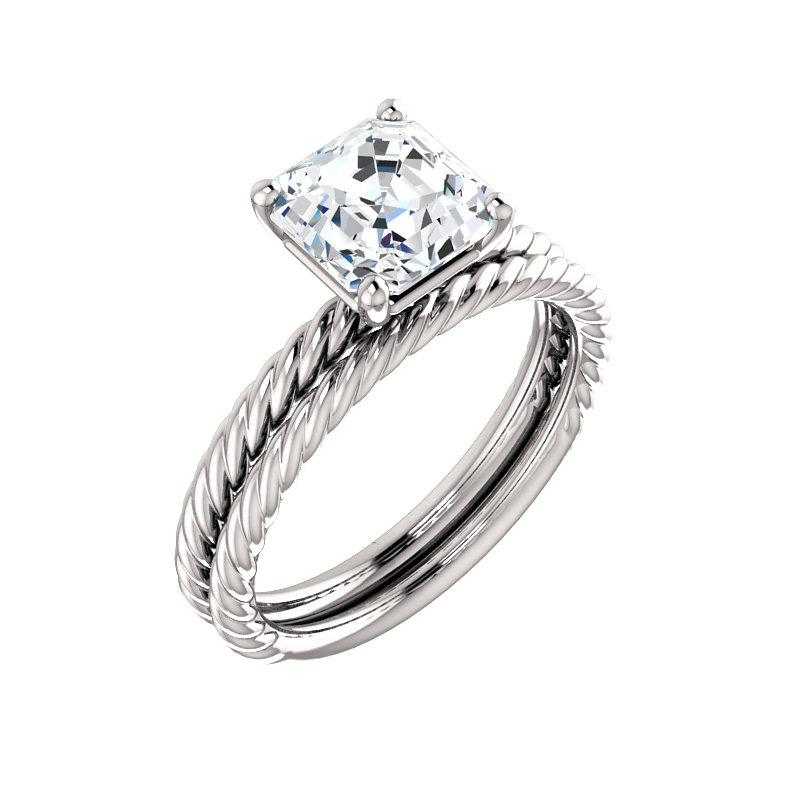 The Lacey Asscher Moissanite Engagement Ring Rope Solitaire Setting White GoldWith Matching Band