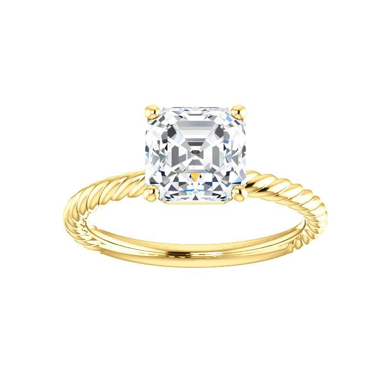 The Lacey Asscher Moissanite Engagement Ring Rope Solitaire Setting Yellow Gold