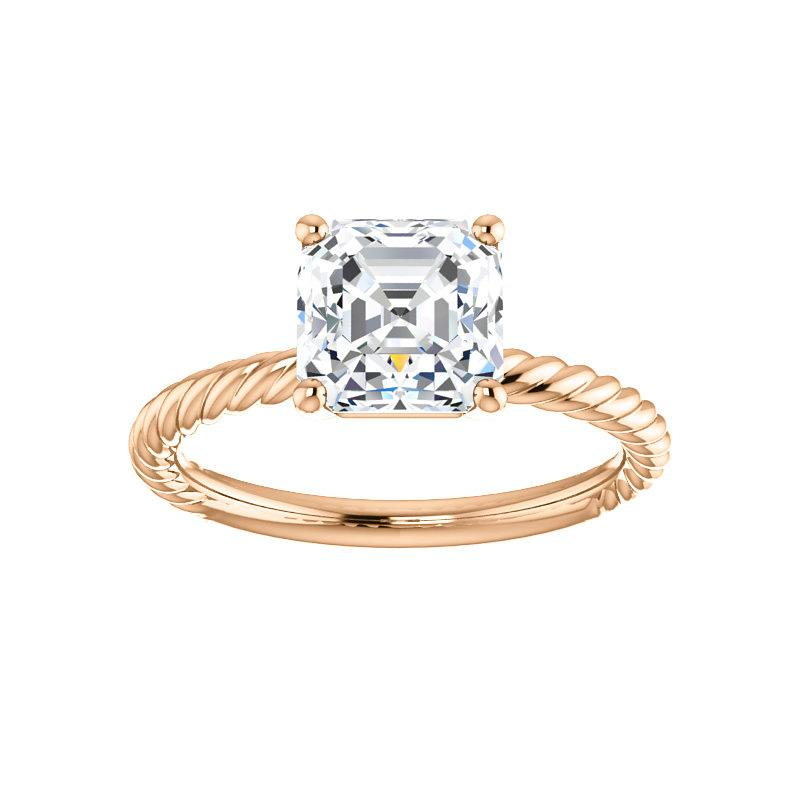 The Lacey Asscher Moissanite Engagement Ring Rope Solitaire Setting Rose Gold
