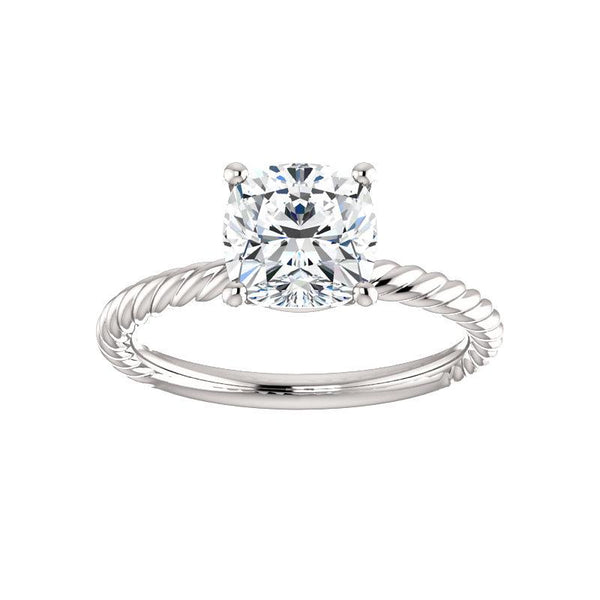 The Lacey Cushion Moissanite Engagement Ring Rope Solitaire Setting White Gold