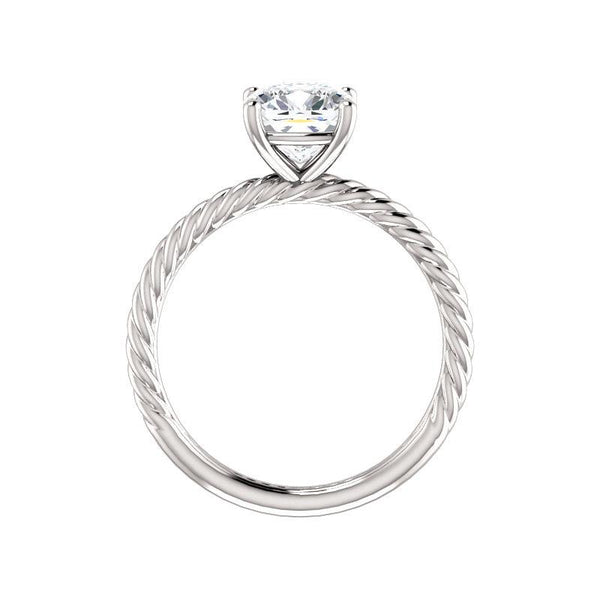 The Lacey Cushion Moissanite Engagement Ring Rope Solitaire Setting White Gold Side Profile
