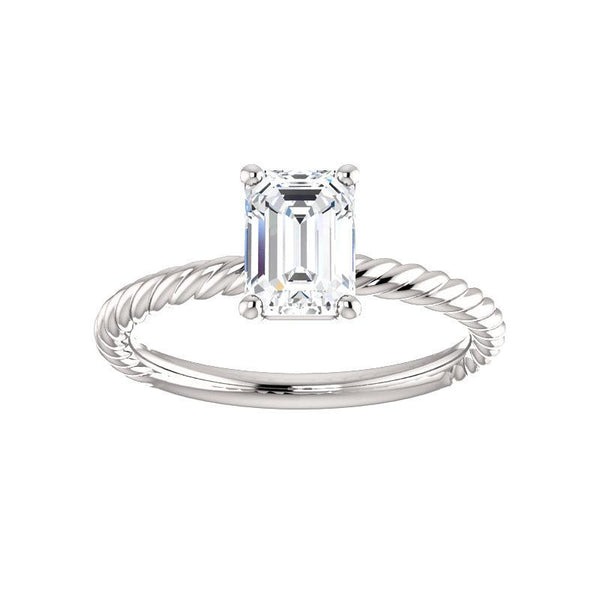 The Lacey Emerald Moissanite Engagement Ring Rope Solitaire Setting White Gold