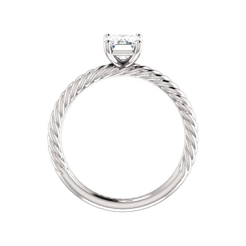 The Lacey Emerald Moissanite Engagement Ring Rope Solitaire Setting White Gold Side Profile