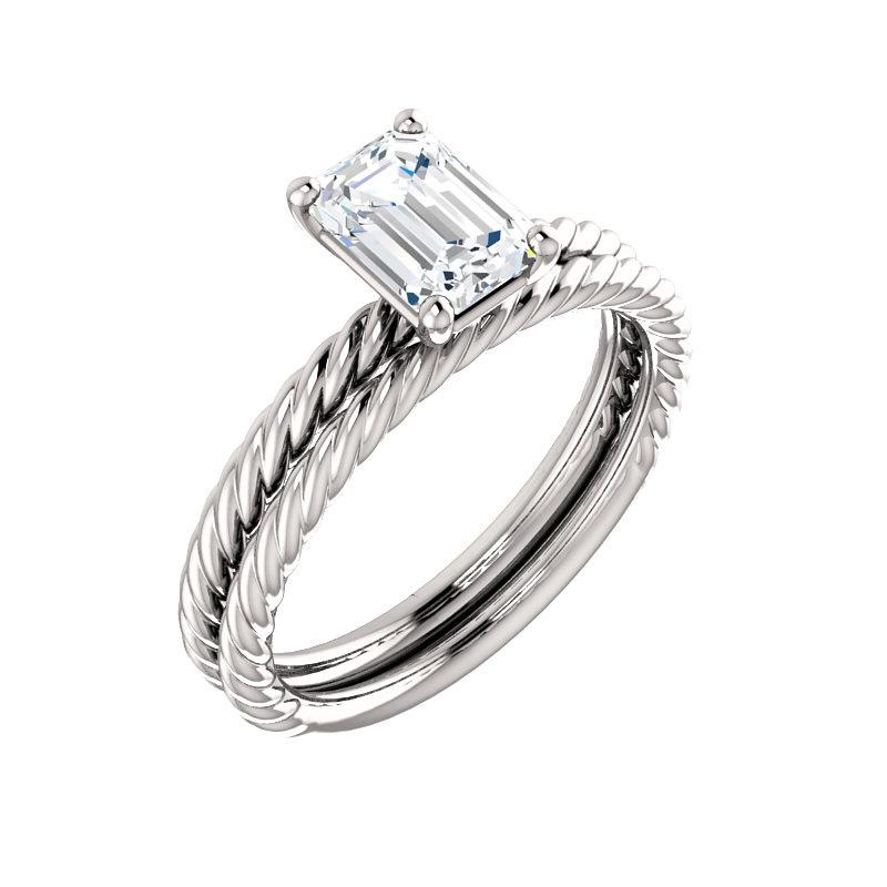 The Lacey Emerald Moissanite Engagement Ring Rope Solitaire Setting White GoldWith Matching Band