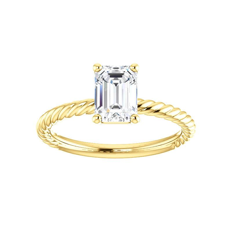 The Lacey Emerald Moissanite Engagement Ring Rope Solitaire Setting Yellow Gold