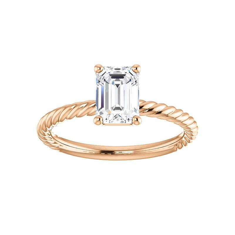 The Lacey Emerald Moissanite Engagement Ring Rope Solitaire Setting Rose Gold