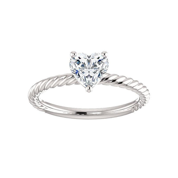 The Lacey Heart Moissanite Engagement Ring Rope Solitaire Setting White Gold