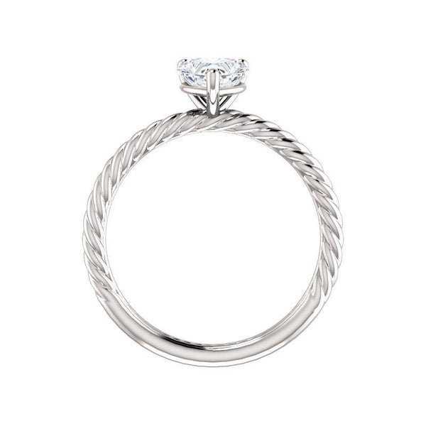 The Lacey Heart Moissanite Engagement Ring Rope Solitaire Setting White Gold Side Profile