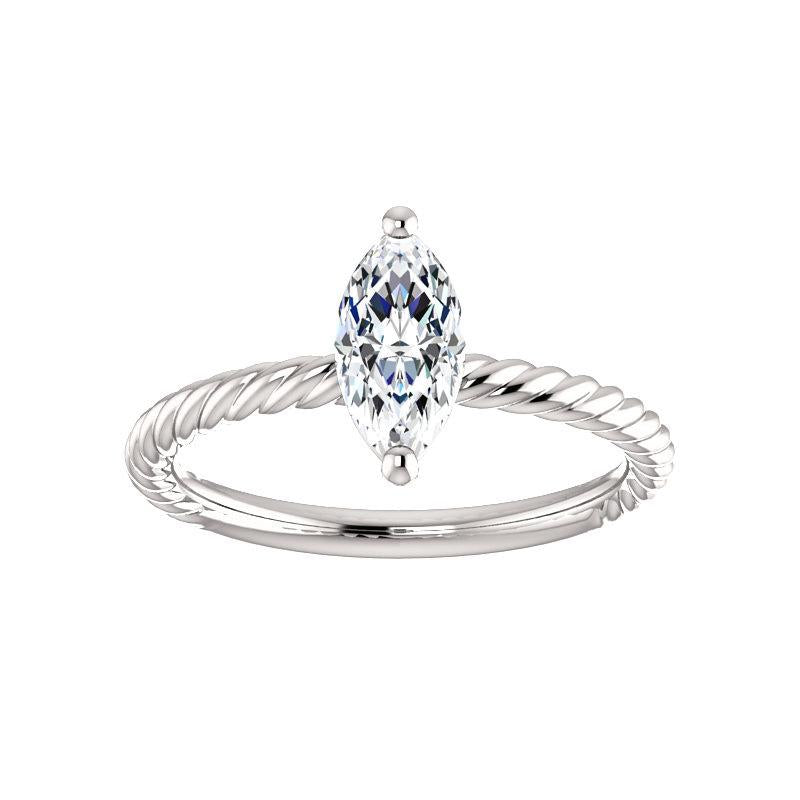 The Lacey Marquise Moissanite Engagement Ring Rope Solitaire Setting White Gold