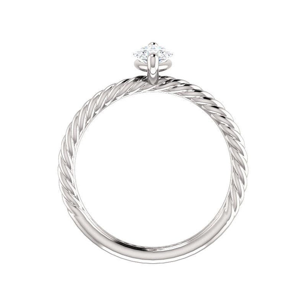 The Lacey Marquise Moissanite Engagement Ring Rope Solitaire Setting White Gold Side Profile