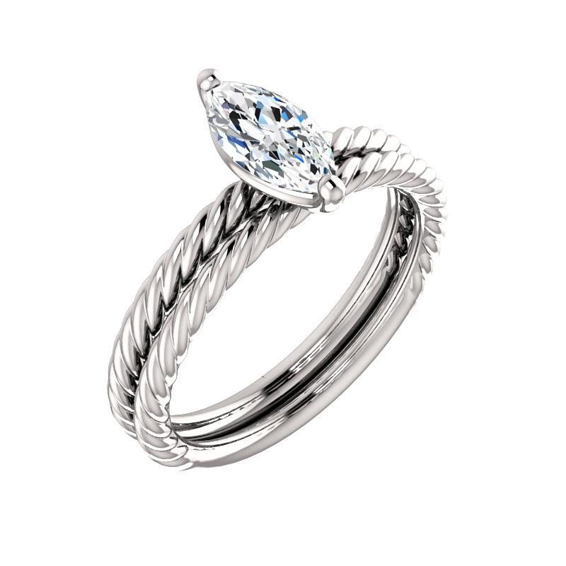 The Lacey Marquise Moissanite Engagement Ring Rope Solitaire Setting White GoldWith Matching Band