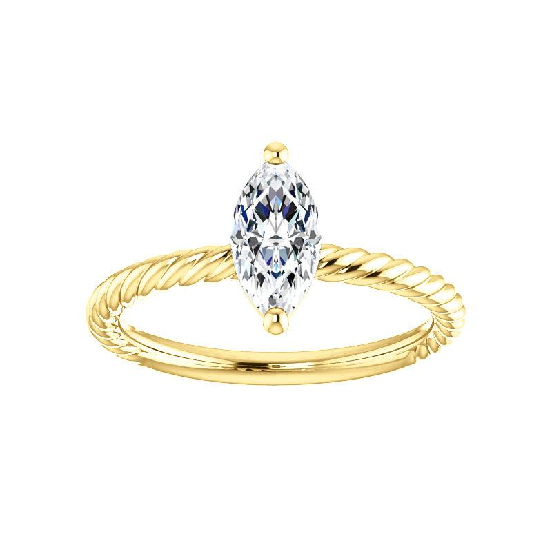 The Lacey Marquise Moissanite Engagement Ring Rope Solitaire Setting Yellow Gold