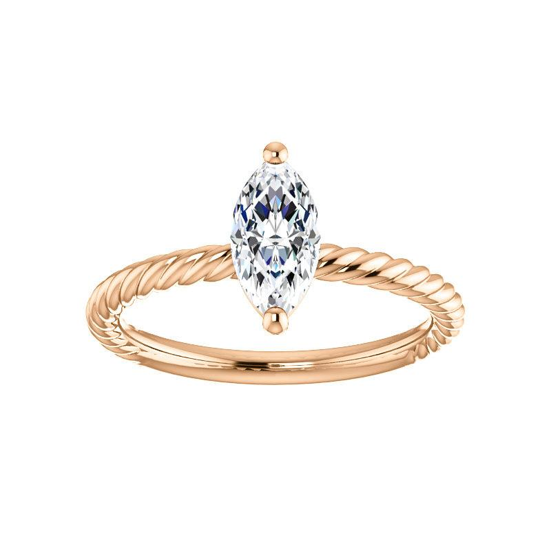 The Lacey Marquise Moissanite Engagement Ring Rope Solitaire Setting Rose Gold