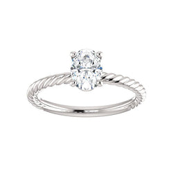 The Lacey Oval Moissanite Engagement Ring Rope Solitaire Setting White Gold