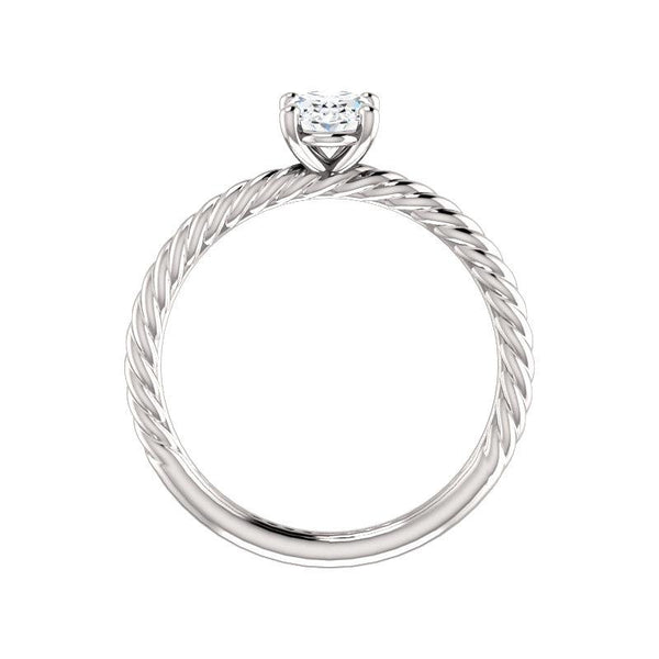 The Lacey Oval Moissanite Engagement Ring Rope Solitaire Setting White Gold Side Profile
