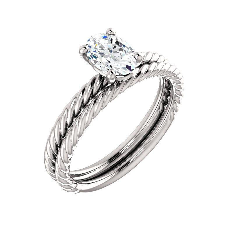 The Lacey Oval Moissanite Engagement Ring Rope Solitaire Setting White GoldWith Matching Band