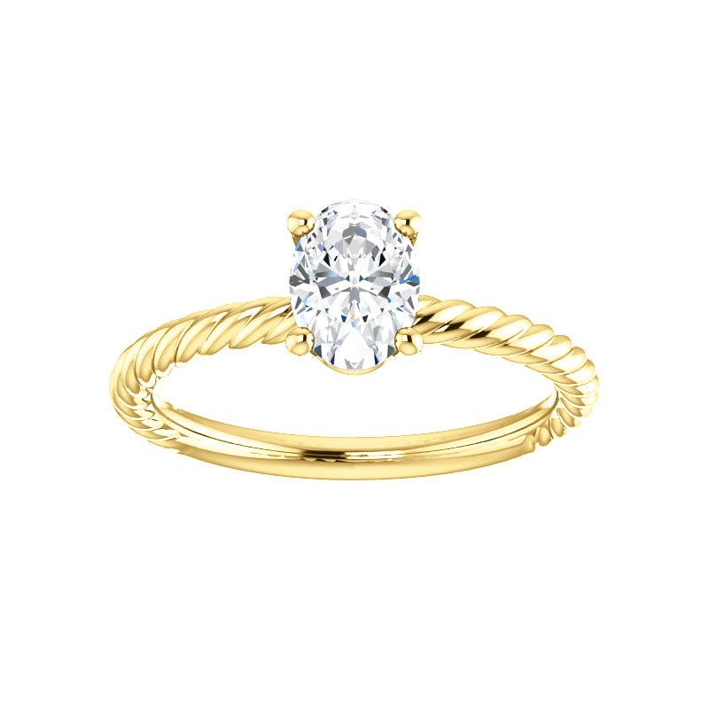 The Lacey Oval Moissanite Engagement Ring Rope Solitaire Setting Yellow Gold