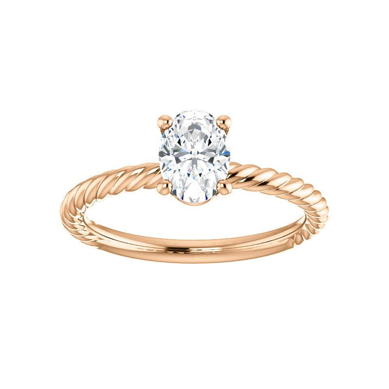 The Lacey Oval Moissanite Engagement Ring Rope Solitaire Setting Rose Gold