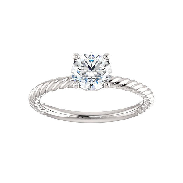 The Lacey Round Moissanite Engagement Ring Rope Solitaire Setting White Gold