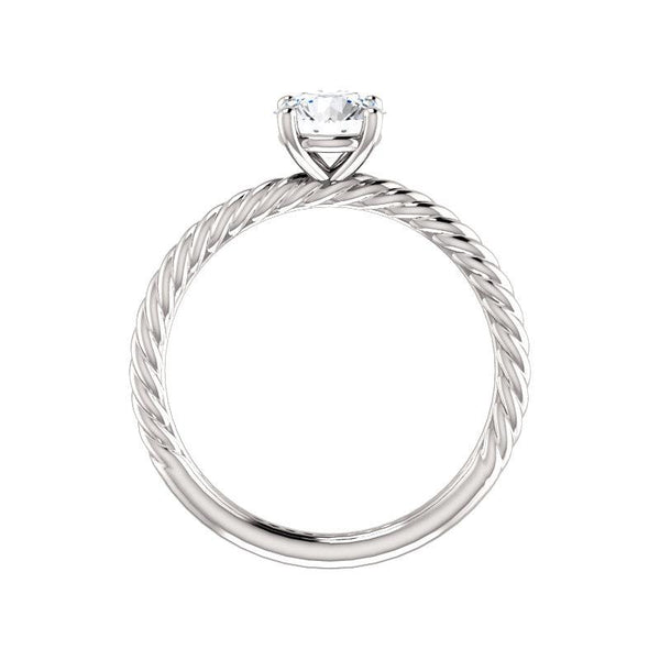 The Lacey Round Moissanite Engagement Ring Rope Solitaire Setting White Gold Side Profile