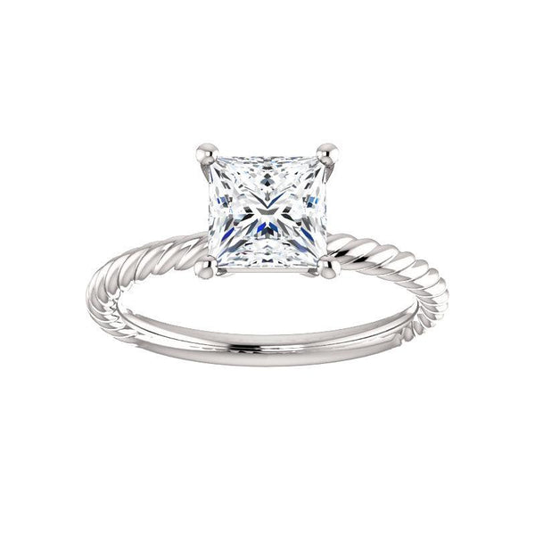 The Lacey Princess Moissanite Engagement Ring Rope Solitaire Setting White Gold