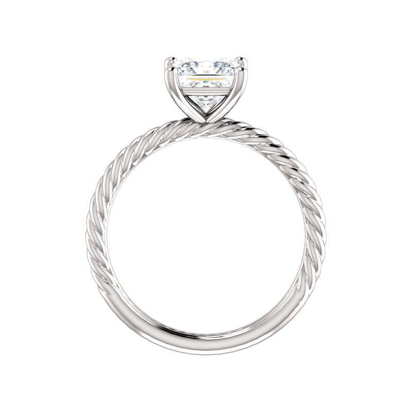 The Lacey Princess Moissanite Engagement Ring Rope Solitaire Setting White Gold Side Profile