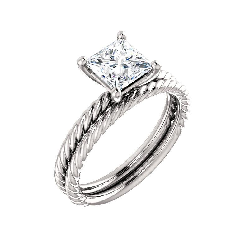 The Lacey Princess Moissanite Engagement Ring Rope Solitaire Setting White GoldWith Matching Band