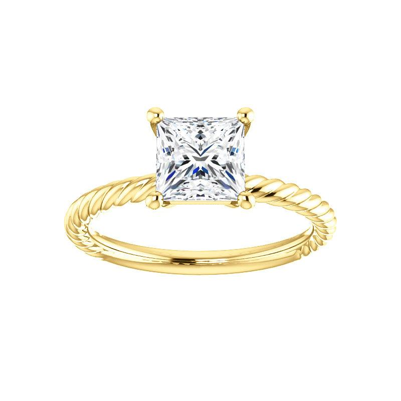 The Lacey Princess Moissanite Engagement Ring Rope Solitaire Setting Yellow Gold