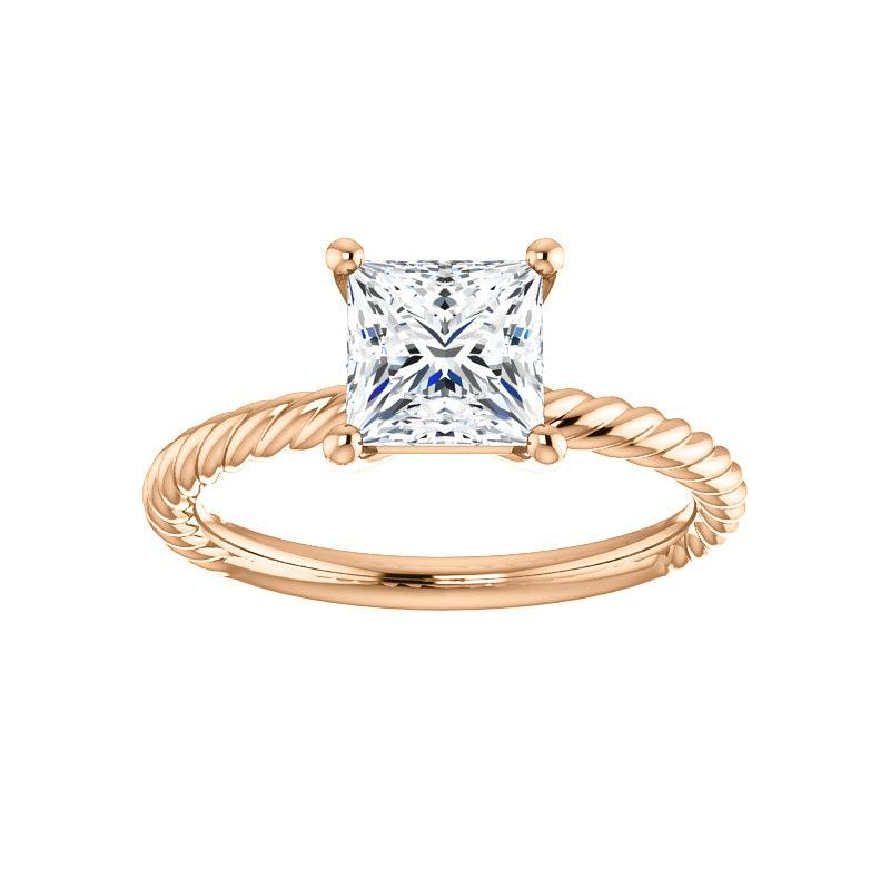 The Lacey Princess Moissanite Engagement Ring Rope Solitaire Setting Rose Gold