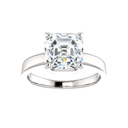 The Jamie Asscher Moissanite Engagement Ring Solitaire Setting White Gold
