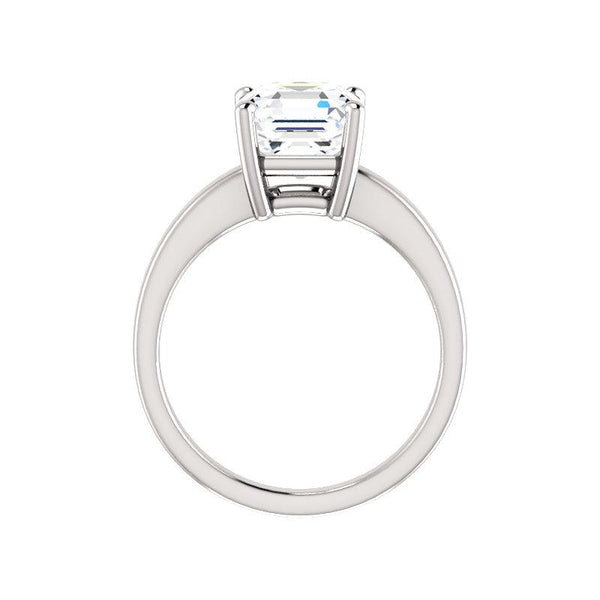 The Jamie Asscher Moissanite Engagement Ring Solitaire Setting White Gold Side Profile