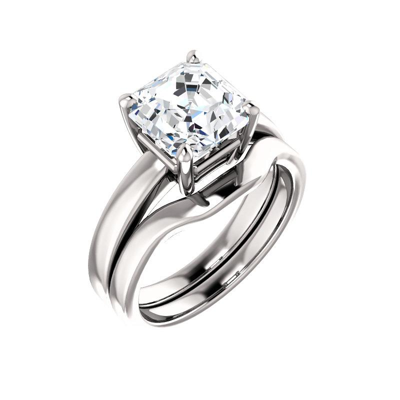 The Jamie Asscher Moissanite Engagement Ring Solitaire Setting White Gold With Matching Band
