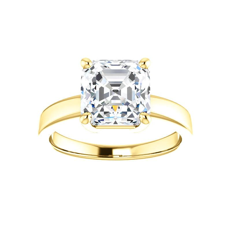 The Jamie Asscher Moissanite Engagement Ring Solitaire Setting Yellow Gold