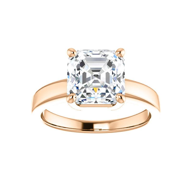 The Jamie Asscher Moissanite Engagement Ring Solitaire Setting Rose Gold
