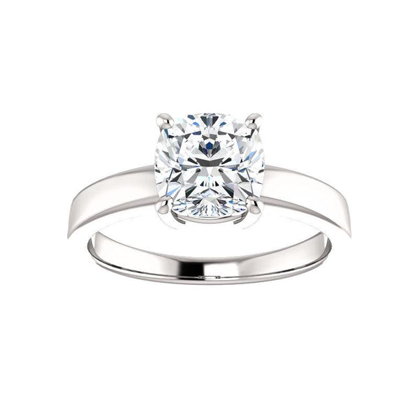 The Jamie Cushion Moissanite Engagement Ring Solitaire Setting White Gold