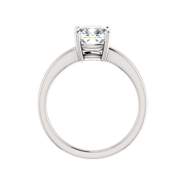 The Jamie Cushion Moissanite Engagement Ring Solitaire Setting White Gold Side Profile