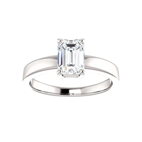 The Jamie Emerald Moissanite Engagement Ring Solitaire Setting White Gold