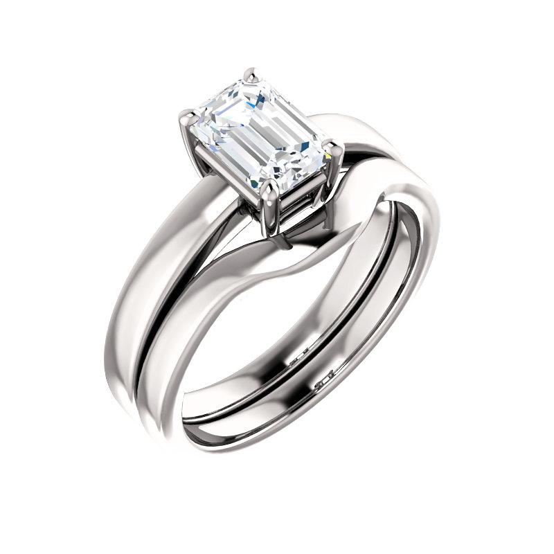The Jamie Emerald Moissanite Engagement Ring Solitaire Setting White Gold With Matching Band