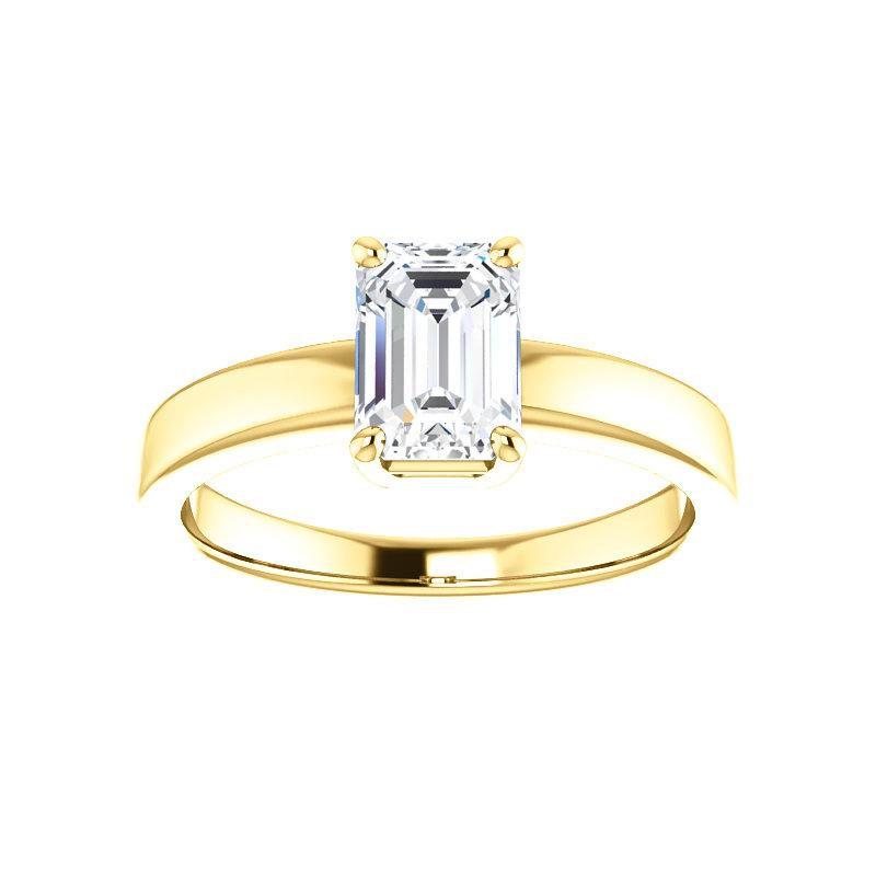 The Jamie Emerald Moissanite Engagement Ring Solitaire Setting Yellow Gold