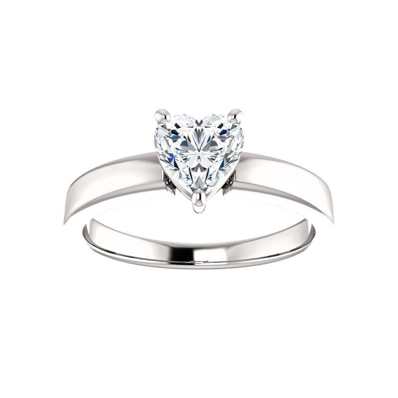 The Jamie Heart Moissanite Engagement Ring Solitaire Setting White Gold
