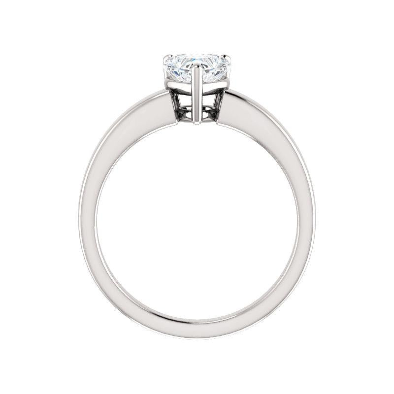 The Jamie Heart Moissanite Engagement Ring Solitaire Setting White Gold Side Profile