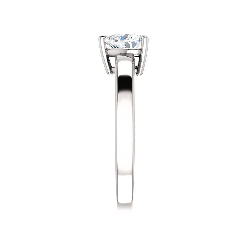 The Jamie Heart Moissanite Engagement Ring Solitaire Setting White Gold Band Profile
