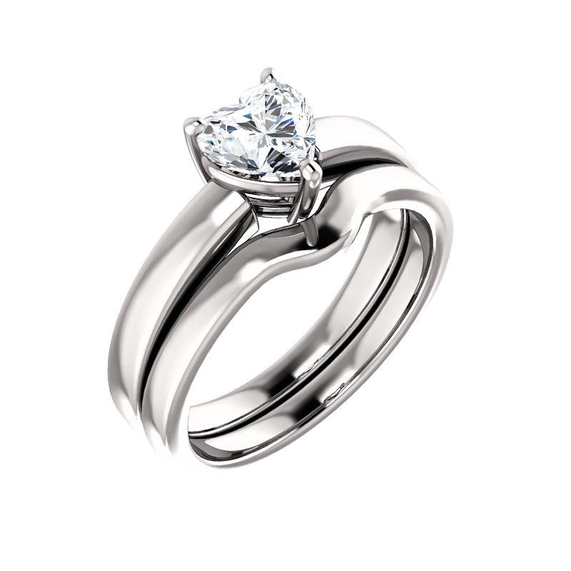 The Jamie Heart Moissanite Engagement Ring Solitaire Setting White Gold With Matching Band