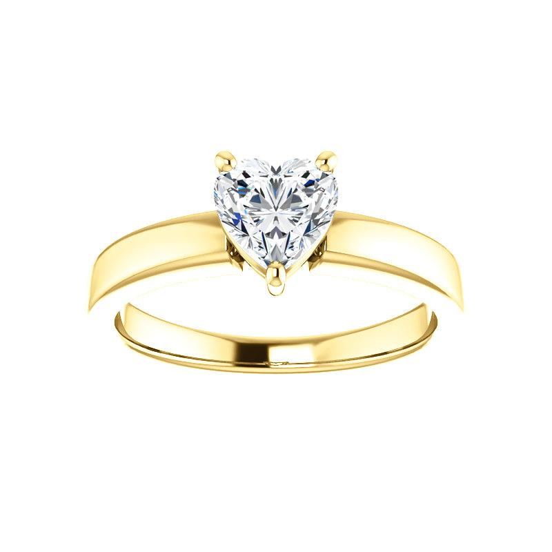 The Jamie Heart Moissanite Engagement Ring Solitaire Setting Yellow Gold