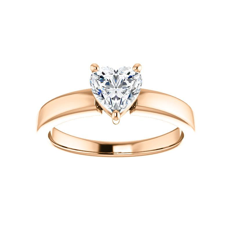 The Jamie Heart Moissanite Engagement Ring Solitaire Setting Rose Gold