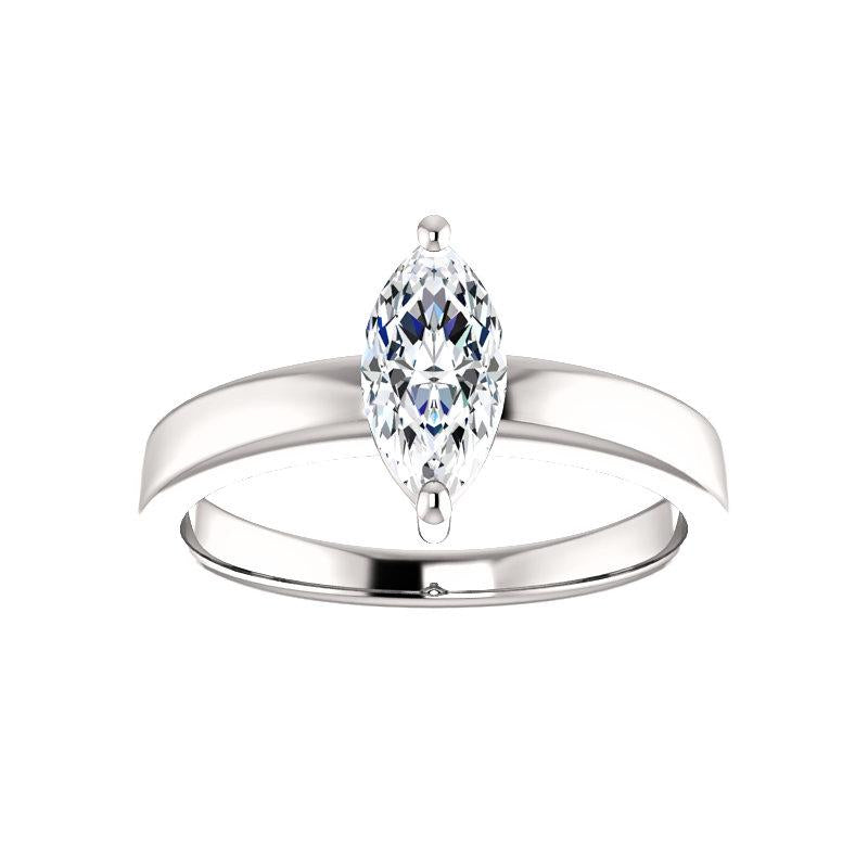 The Jamie Marquise Moissanite Engagement Ring Solitaire Setting White Gold