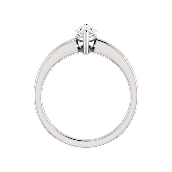 The Jamie Marquise Moissanite Engagement Ring Solitaire Setting White Gold Side Profile