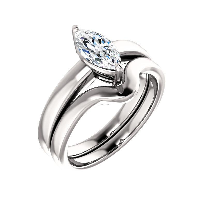 The Jamie Marquise Moissanite Engagement Ring Solitaire Setting White Gold With Matching Band